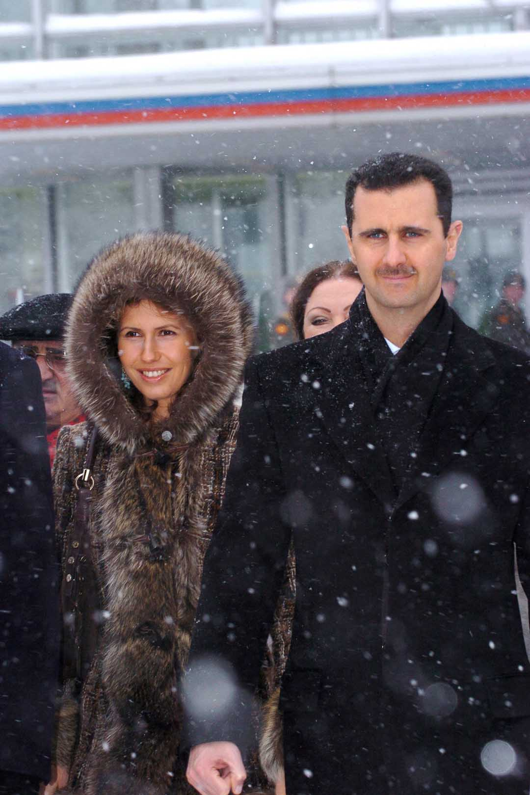 Syrian President Bashar El Assad And His Wife Asma Departing Moscow Airport On January 27