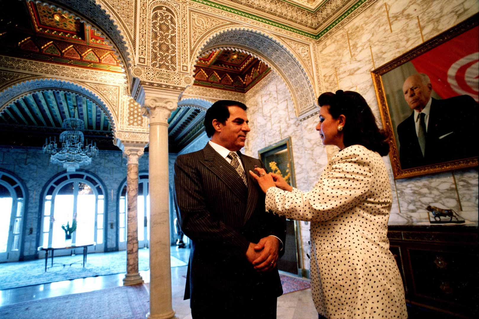 Tunisian President Zine El Abidine Ben Ali With His Wife Leila Trabelsi At Carthage Presidential Palace In 1997 C Ammar Abd Rabbo