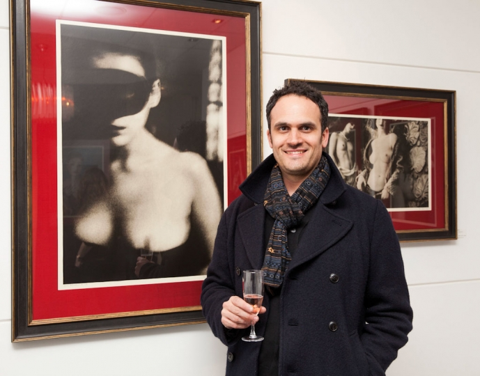 2. Tim Blake of John Jones Framing at the opening of Vee Speers: Bordello at The Little Black Gallery © Gabriel Lovas