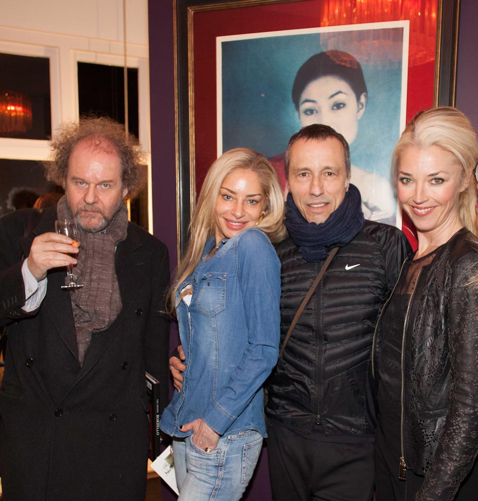 4. Mike Figgis, Sera Hersham, Michael Wincott & Tamara Beckwith at the opening of Vee Speers: Bordello at The Little Black Gallery © Gabriel Lovas