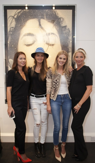 4) Katya Fomicev, Masha Hanson, Donna Air, & Tamara Beckwith at Girls! Girls! Girls! at The Little Black Gallery in front of Marco Glaviano's 'Cindy Kiss'rn