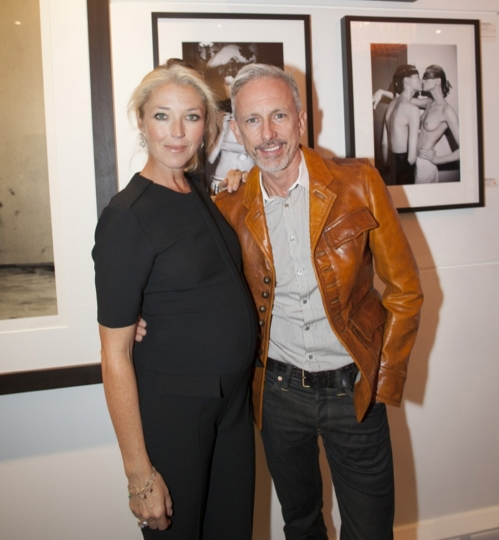 5) Tamara Beckwith & cobbler Patrick Cox at Girls! Girls! Girls! at The Little Black Gallery in front of Roxanne Lowit's photographs