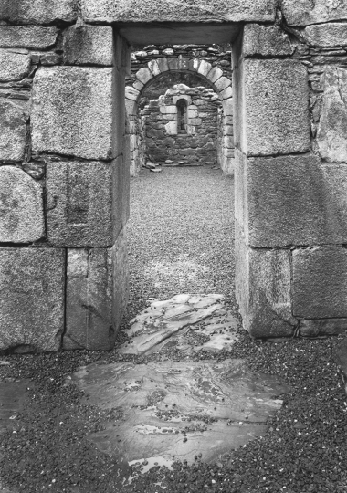 Paul Caponigro (b. 1932), Reefert Church, Glendalough, County Wicklow, Ireland, 1988, gelatin silver print, 19 u00d7 13 1/4 in. © Paul Caponigro.rn