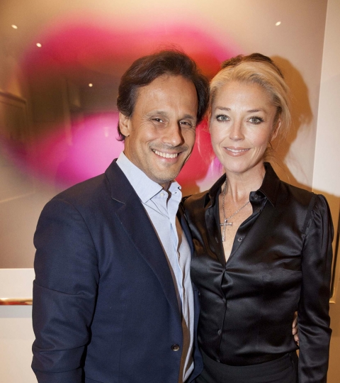 Indian textile heir Arun Nayar with The Little Black Gallery's Tamara Beckwith @ The Little Black Gallery Christmas Party