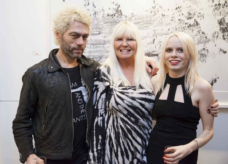 Lindsey & Scarlett Carlos Clarke (widow and wife of the late photographer Bob Carlos Clarke) and artist Tim Noble'