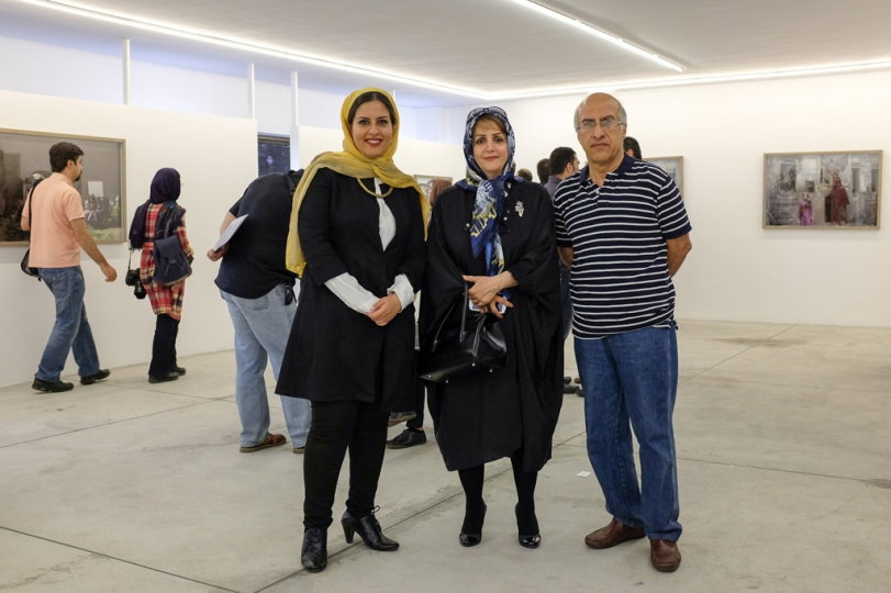 (Left : Tahmineh Monzavi) All about me, Nicknamed Crown Giver by Tahmineh Monzavi - Exhibition Opening at Silkroad Gallery