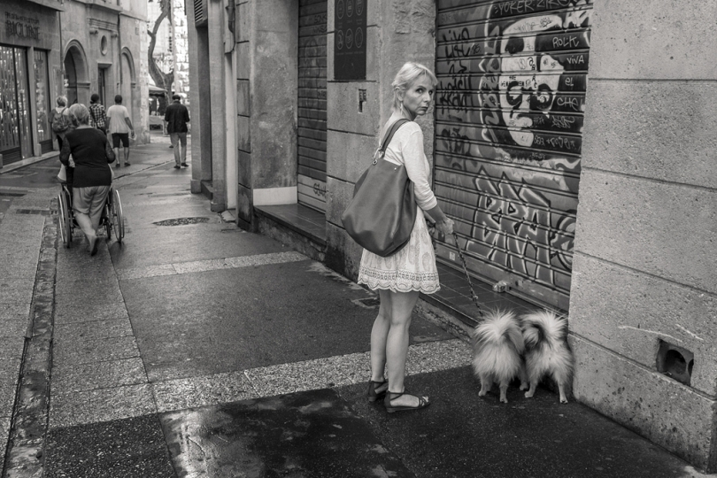 Woman and dog Aix en Provence 2014 by Roubinoff