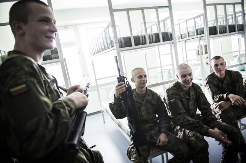 © Mattia Vacca Cadets in their dormitory, inside their base in Klaipeda.