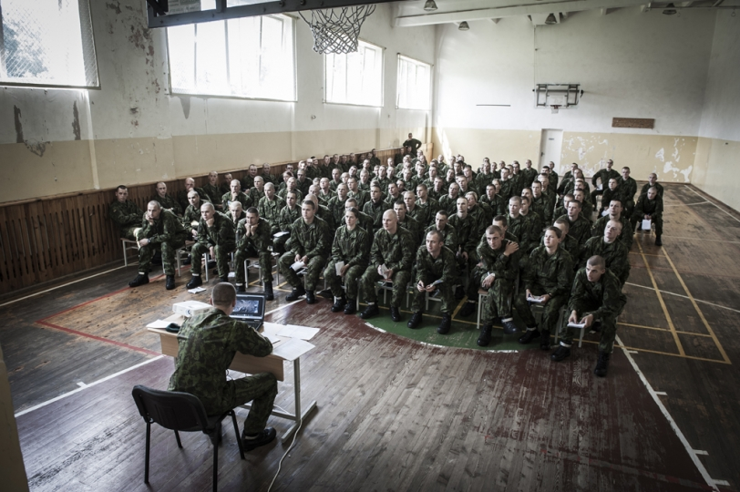 © Mattia Vacca The gym of Ruklau2019s military base during the first week of training.