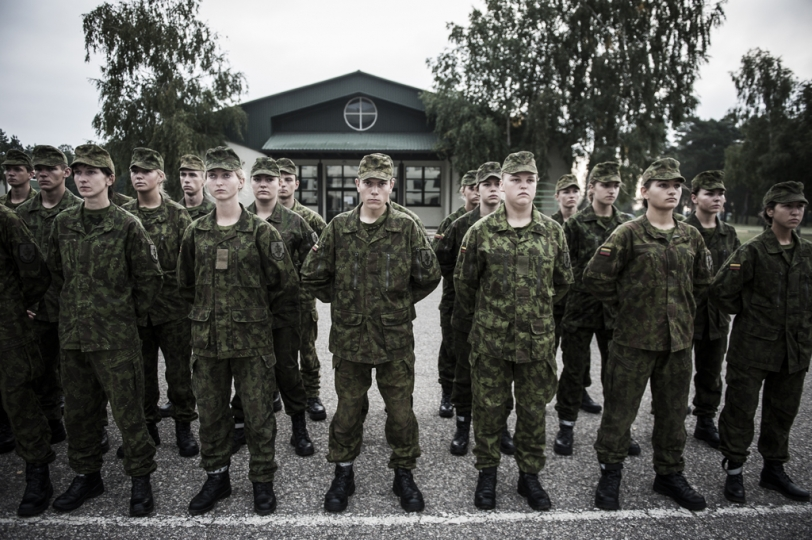 © Mattia Vacca Policemen inside Ruklau2019s base. From September 2015, Lithuanian police officers and firefighters are required to receive a month of military training to operate.