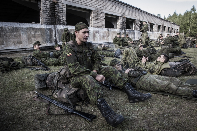 © Mattia Vacca Young recruits rest in the surroundings of a dismantled Russian military base in the forests of Central Lithuania.