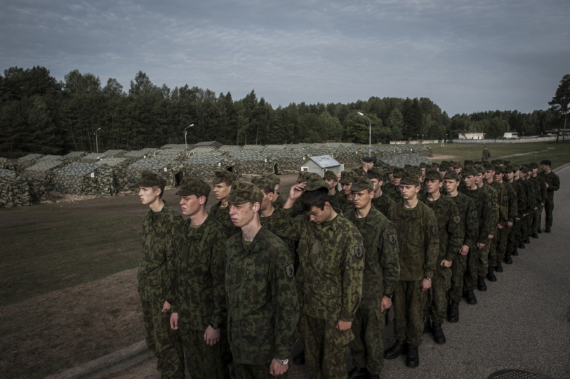 © Mattia Vacca Young cadets get ready to march at dawn, inside the military camp in Rukla.