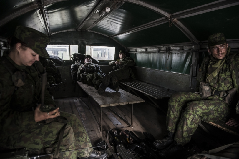 © Mattia Vacca Young recruits come back to their military base after having trained in Central Lithuania, a training ground used for combat simulations.