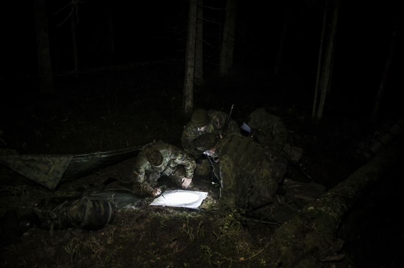 © Mattia Vacca Cadets during night training in the forests in Central Lithuania.