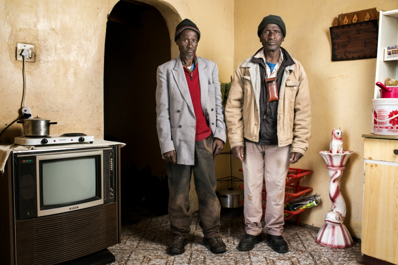 Dyamara Jibhana & his brother Phillip - Mr Jibhana is 65 years old and worked in the gold mines for 39 years. He has silicosis and received no compensation.