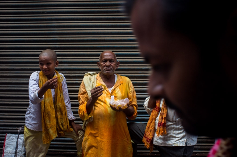 Street scene. During this period, there are pilgrims all over the city. Gaya, Bihar, India. 2015