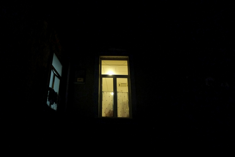 A night view of L.(24) room. She's one of the blind guests inside the Paolo Colosimo Institute, but everytime in the week end she returs to her family. Naples 09 nov, 2015