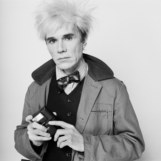 © Pierre Houles, Andy Warhol with his Minox camera, 1982. Archival pigment print on aluminium 80 x 80. Courtesy of OstLicht. Galerie für Fotografie, Vienna