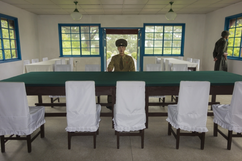 Guard in a meeting room at the DMZ, North Korea