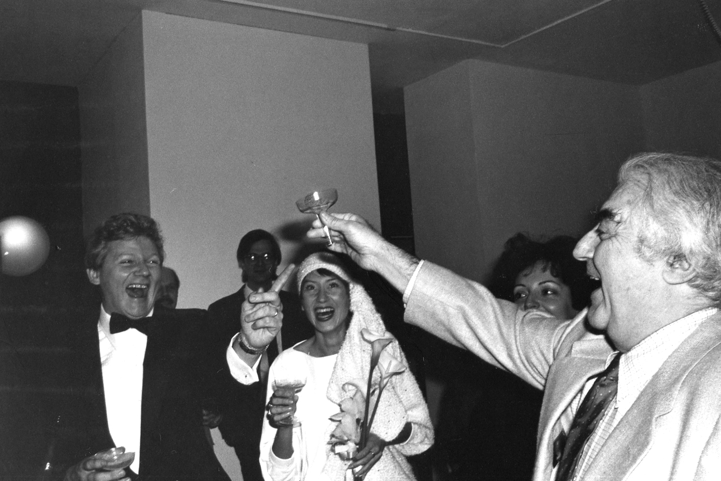 Cornell Capa toasting the marriage of Robert walker and Anna Swietlik. Photo:  Michael Floman