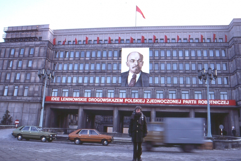 Robert Walker in front of headquarters of the Communist Party. Photo: Anna Swietlik