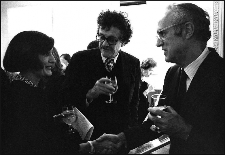 At the opening Kurt Vonnegut, Jr. (center), an American author