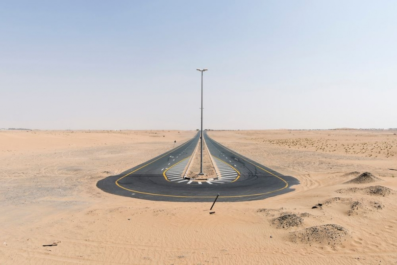 Dubai, United Arab Emirates, September 20, 2016 Dead end desert road. From the series 'Bread and Circuses'