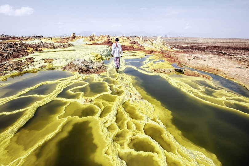 Dallol, a volcanic explosion crater in the Danakil Depression, means the