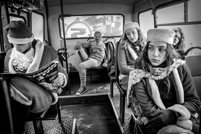 In a bus during Christmas carnival, few days before snap presidential elections. Tbilisi, Georgia, December 2008 ©Justyna Mielnikiewicz