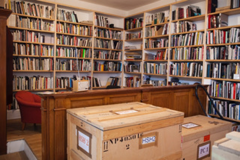 GB. England. Bristol. Bedminster. Martin Parr's book collection. 2014.