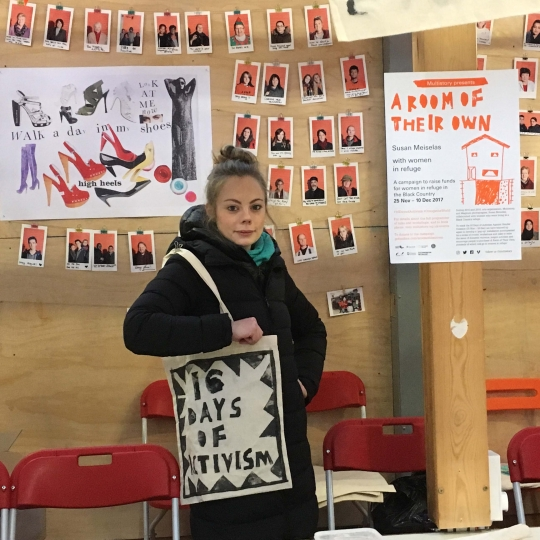 Multistory, 16 Days, Sarah with 16 Days of Activism bag