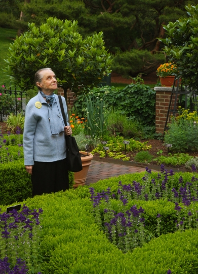 this photo: poet Marie Ponsot..Monet's Garden--a tribute to the gardens that inspired the French Impressionist's art at the New York Botanical Garden followed by a dinner to benefit the POETRY SOCIETY OF AMERICA. Poet Marie Ponsot was in attendance along with Maria Tucci, etc. © Lawrence Schwartzwald