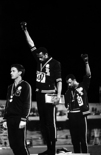 Black Power Salute, 1968 Summer Olympics, Mexico City, Mexico, October 16, 1968. Courtesy Monroe Gallery of Photography John Dominis/© Time Inc