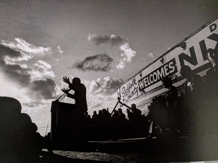 Richard Nixon giving a speech to the residents of Suffolk County, NY while on the campaign trail in 1968. Courtesy Monroe Gallery of Photography © Irving Haberman