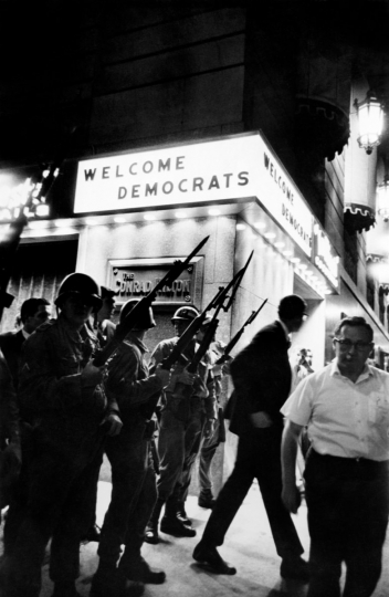 """Welcome Democrats"" Democratic National Convention, Conrad Hilton Hotel, Chicago, 1968. Courtesy Monroe Gallery of Photography © Art Shay"