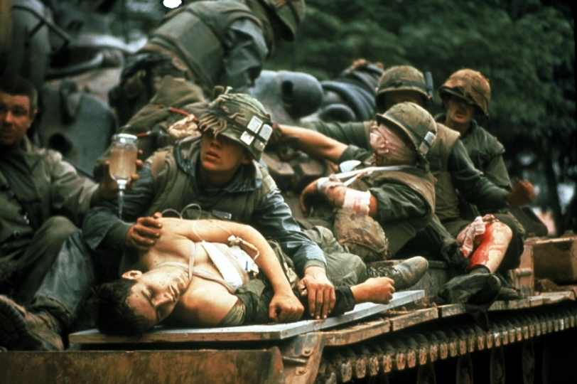 U.S. Marines at battle of Hue, Vietnam, 1968. Courtesy Monroe Gallery of Photography © John Olsen