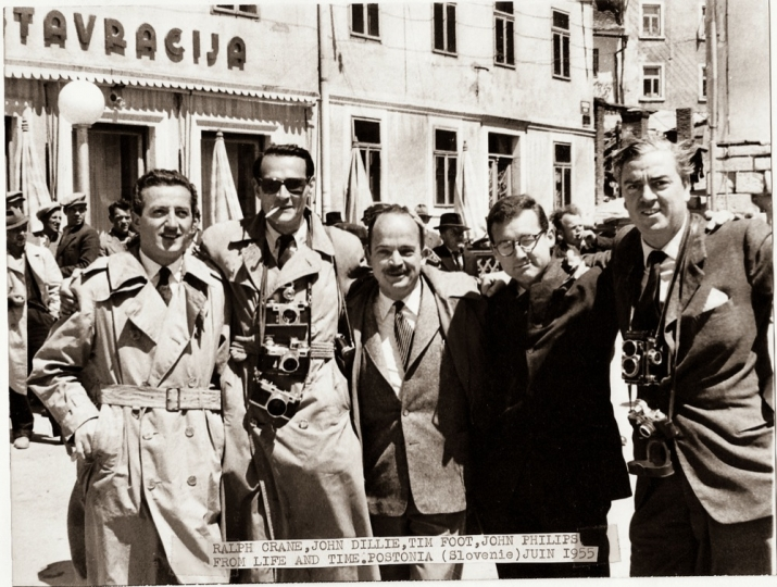 International journalists in Postonia, Slovenia, May 1955. Benno Graziani (Paris-Match), Ralph Crane, John Dillie, Tim Foot, John Philips (Life).