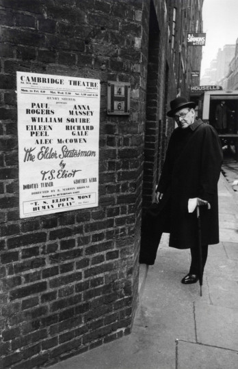 T.S. Eliot at Stage Door, London, 1958 © Courtesy Laurence Miller Gallery and The Larry Burrows Collection