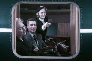 The first class on Air France in 1957, by Eugene…