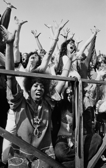 Manhattan, New York City, NY. April 27th, 1969. The chorus for Hair sings at a first anniversary concert of the musical in New York's Central Park. © Jean-Pierre Laffont