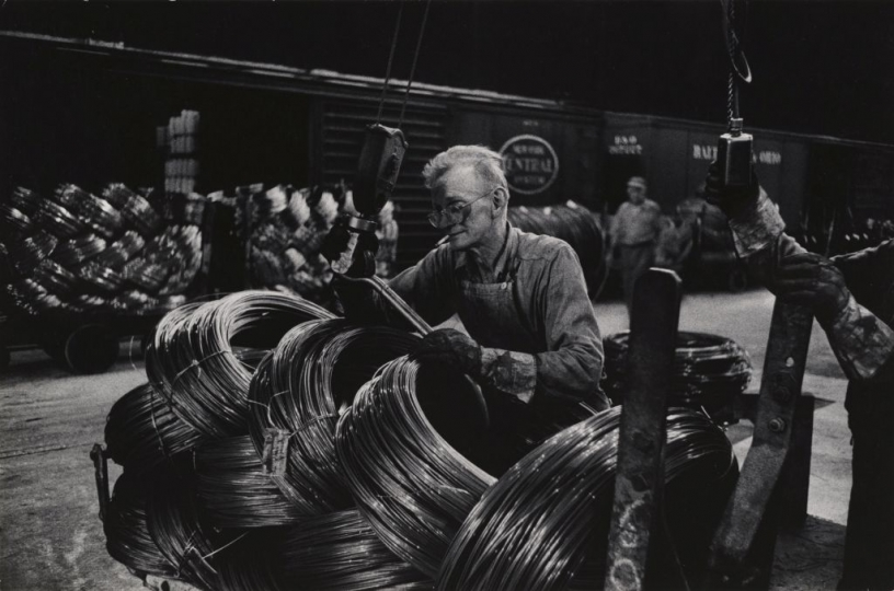 W. Eugene Smith, USA, 1918-1978, Mill Man Loading Coiled Steel, 1955-1957, gelatin silver print, 22.86 x 34.61 cm, Gift of the Carnegie Library of Pittsburgh, Lorant Collection ©W. Eugene Smith / Magnum Photos
