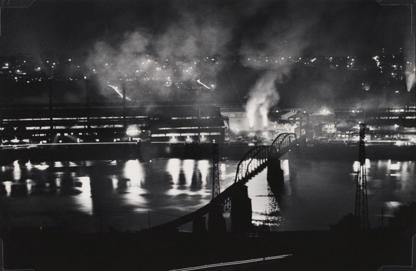 W. Eugene Smith, USA, 1918-1978, National Tube Company works, U.S. Steel Corporation, McKeesport, and Union Railroad Bridge over the Monongahela River, 1955-1957, gelatin silver print, 22.86 x 34.29 cm, Gift of the Carnegie Library of Pittsburgh, Lorant Collection ©W. Eugene Smith / Magnum Photos