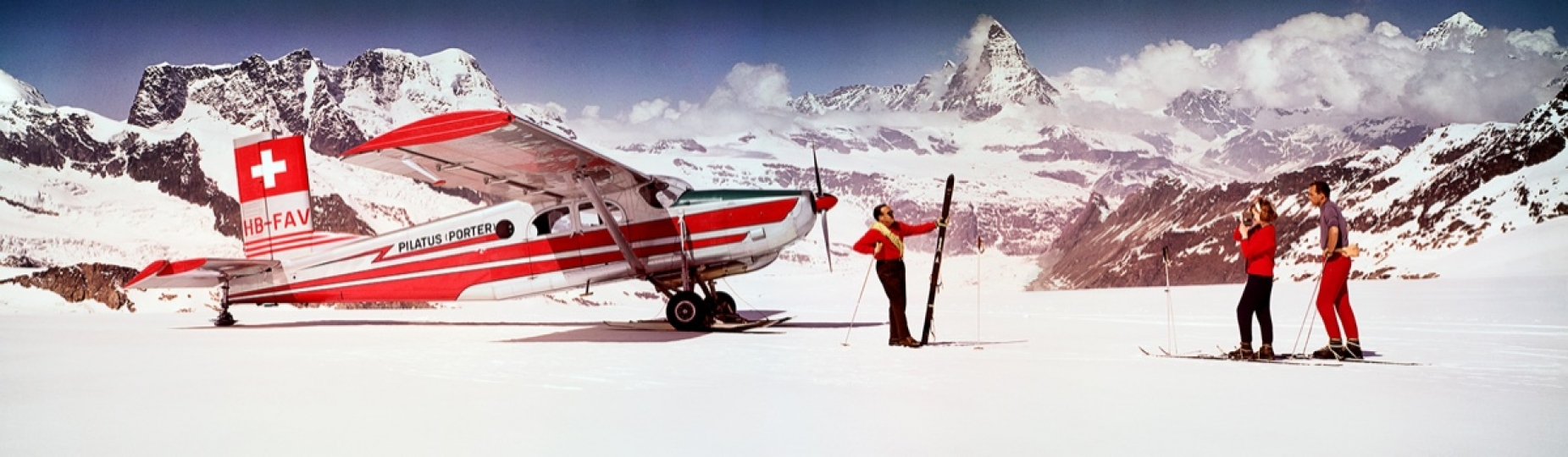 Alps Skiers With Airplane 1964 © Neil Montanus