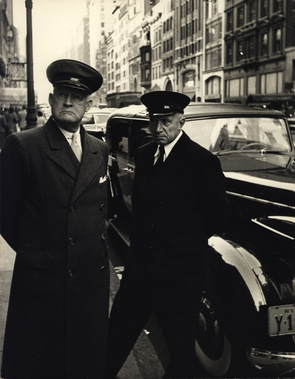 Chauffeurs at The Plaza, New York City, ca. 1950 © Dan Weiner, Courtesy Steven Kasher Gallery