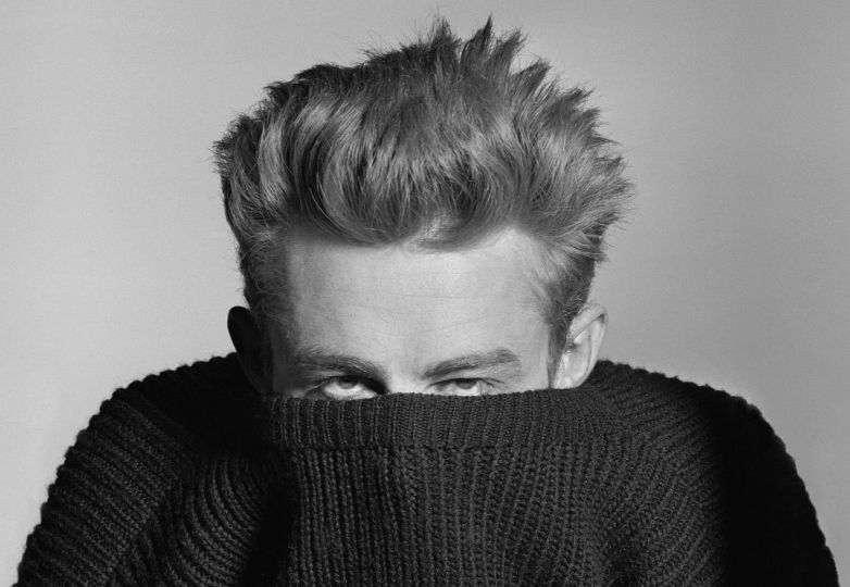 "The snap of James Dean is one of Phil's most famous and purchased photographs. He stated several times that he had nothing to do with this shot. No direction of cajoling. ""Dean just came in and started posting with his sweater. It was a whimsical statement of his own volition and I'm eternally thankful for it."" © Phil Stern Archives"