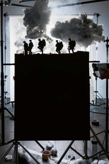 "Making of ""Five Soldiers Silhouetted at the Battle of Broodseinde"" (by Ernest Brooks, 1917), 2013 © 2018 Jojakim Cortis and Adrian Sonderegger"