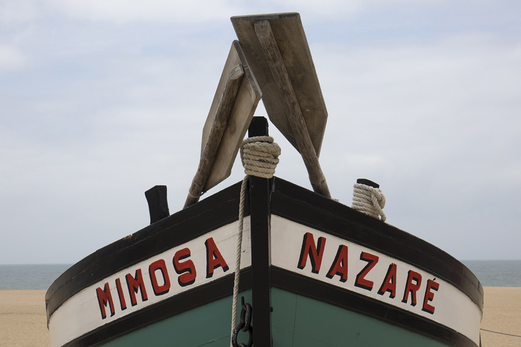 May 9, 2018, Nazare, Portugal: Nazare is a charming former fishing village on the Atlantic Coast between Lisbon and Porto. Old fishing and rescue boats on display at the beach. © ALLAN TANNENBAUM