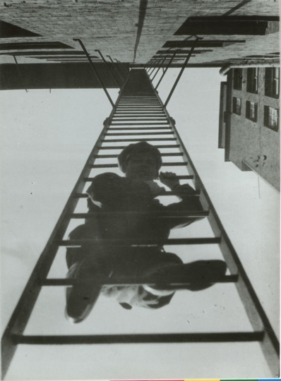 "Fire Escape (with a man). From the series ""House in Miasnitskaya St"", 1925 ©Alexander Rodchenko, Modern silver gelatin print from the artist's negative, Collection of the Multimedia Art Museum, Moscow"