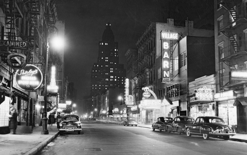 Eighth Street, looking east from Sixth Avenue, January 1, 1950 Vintage gelatin silver print, printed ca. 1950 Copyright Fred W. McDarrah, Courtesy Steven Kasher Gallery, New York