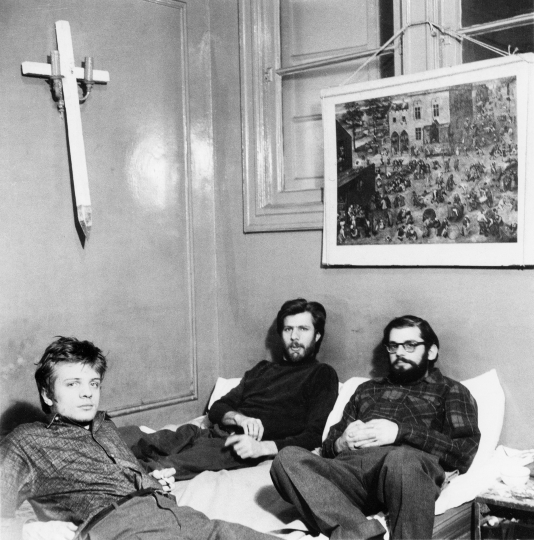 Allen Ginsberg, his longtime companion Peter Orlovsky, and Orlovsky's brother Lafcadio relax in their apartment at 170 East Second Street, January 9, 1960 Vintage gelatin silver print, printed ca. 1960 10h x 8w in Dated and stamped by photographer verso - Copyright Fred W. McDarrah, Courtesy Steven Kasher Gallery, New York